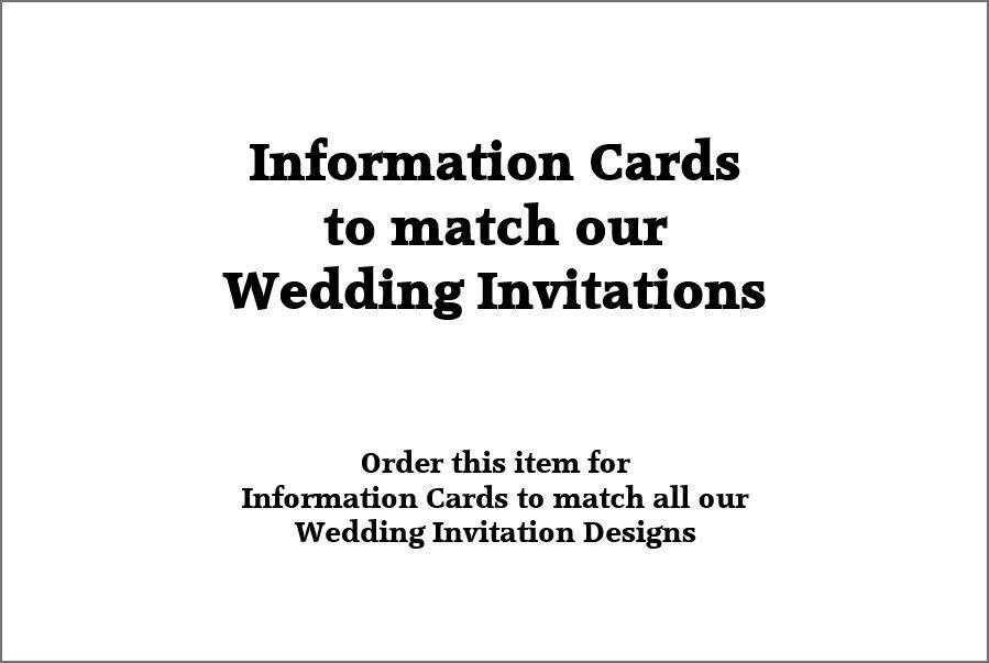 Informations insère pour correspondre à Notre Mariage Invitations - 6x4 Pouces 15x10cm