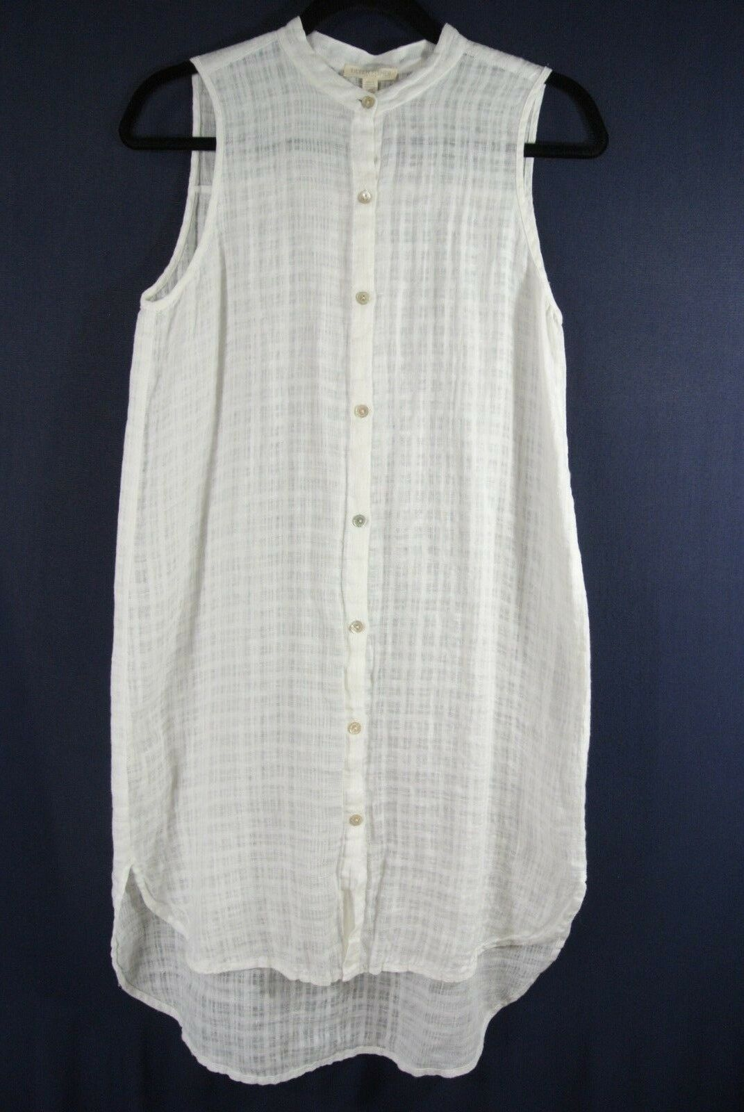 NEW Eileen Fisher Linen Mandarin Collar Tunic in Weiß - Größe PS  T331