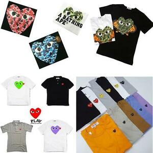 c946d584 NEW COMME DES GARCONS CDG A BATHING APE x PLAY T SHIRT POLO SHORT ...