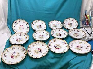 Set Of 12 Limoges LS & S Antique Porcelain Floral & Heavy Gold Side Plates