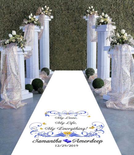 Personalised WEDDING AISLE RUNNER 15ft Church Wedding Carpet Decoration 30ft