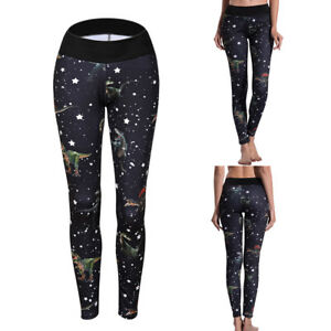 838d29a1cd11f EG_ DINOSAUR STAR PRINT WOMEN SPORT PUSH UP LEGGINGS HIGH WAIST YOGA ...