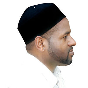 a10e33c82 Details about TheKufi Black Fez-style Faux Felt Pointed-top Vented Kufi Hat