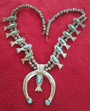 Vintage Navajo Turquoise Sterling Silver Sandcast Naja Squash Blossom  Necklace