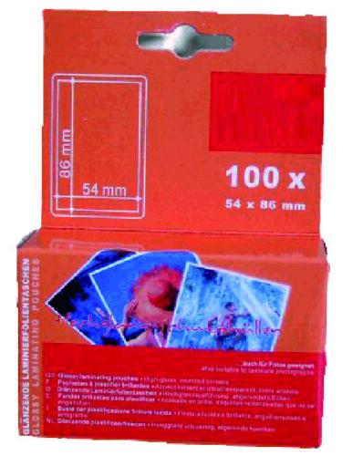 100 Stück Laminierfolien 60x90 mm 2x175 mic glänzende Laminiertaschen Kreditmaß