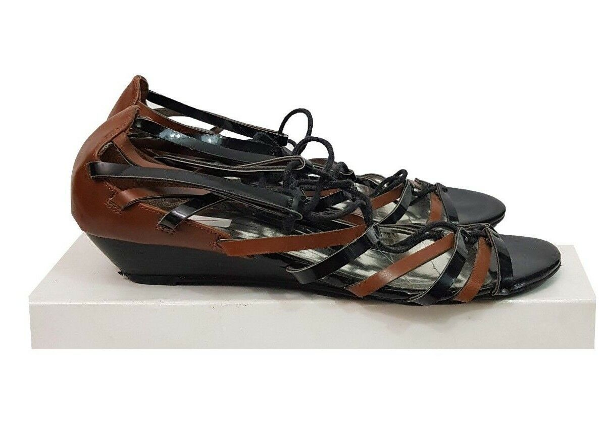 M&S Sandals Size Sandals 6 Black Brown Gladiator Sandals Size Tie Up Summer Holiday Casual f42b3d