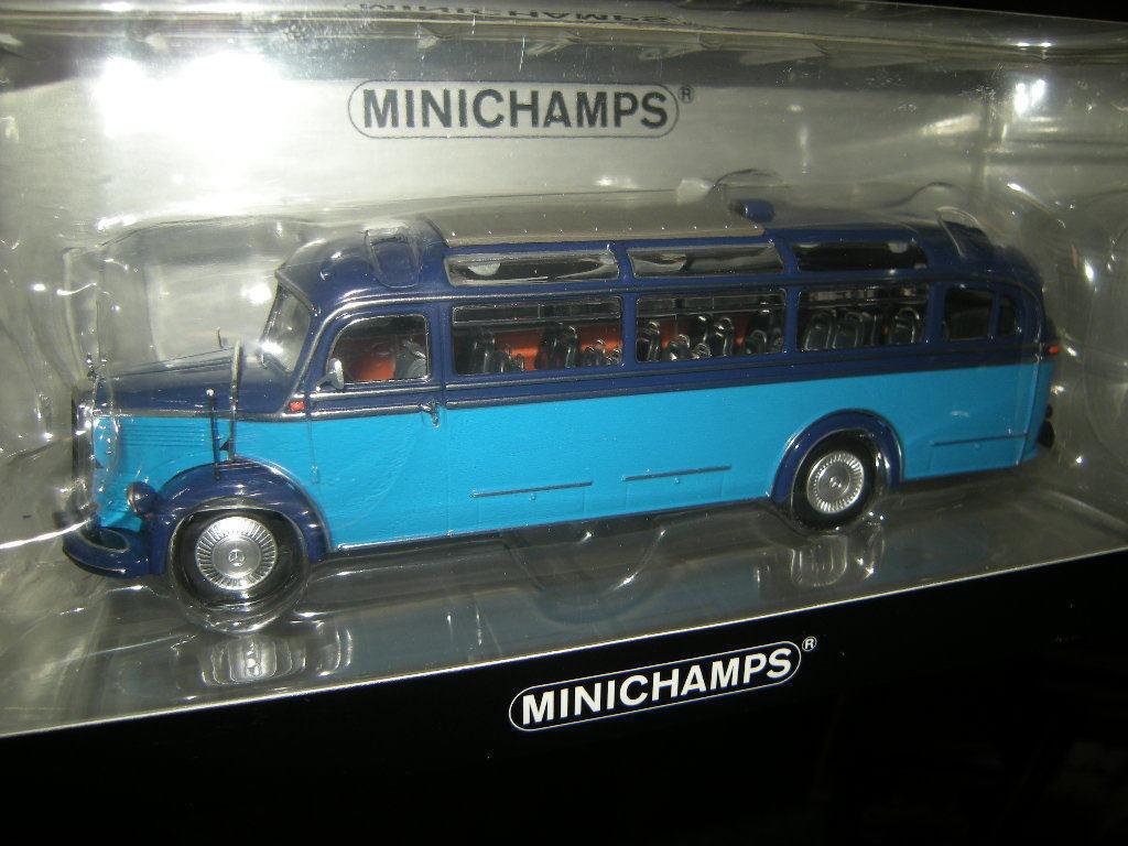 1 43 Minichamps MB O 3500 buss 1950 ljusblå begränsad rödigering 1 av 504 pcs. OVP