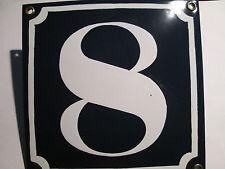 Emaille-Hausnummer Nr. 8 weisse Zahl auf blauem Hintergrund 14 cm x 14 cm