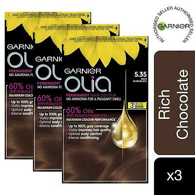 3 Pack Garnier Olia Hair Dye 5 35 Rich Chocolate Brown No Ammonia Permanent 3600541593749 Ebay