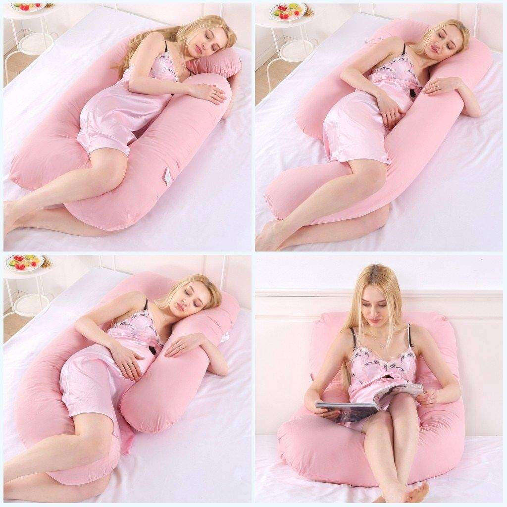 H U Shape Sleeping Support Pillow For Pregnant PW24 Body Cotton Maternity Pil...