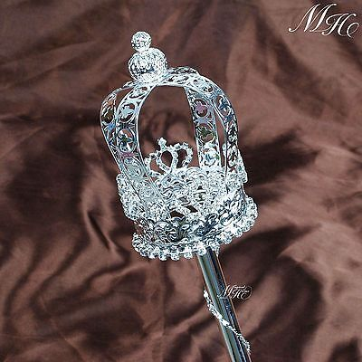 King Queen Rhinestone Scepter Wand Wedding Pageant Party Magic Fairy Prop Staff