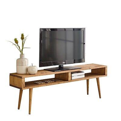 Mueble TV salón Vintage 2 huecos, Madera Maciza Natural, 140cm x 40cm x 30cm