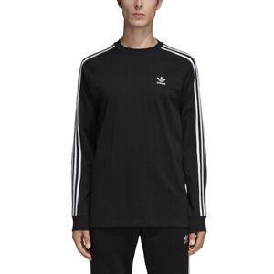 51fbda88 New Men Adidas Originals 3-Stripes Long Sleeve Shirt (DV1560) Black ...
