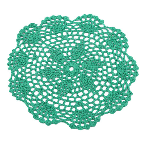 White Pure Cotton Handmade Crochet Lace Doily Table Placemat Round Flower G