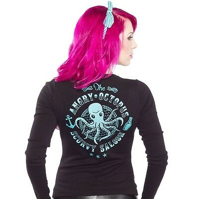 SOURPUSS ANGRY OCTOPUS SALOON RETRO 50s PUNK PINUP TATTOO CARDIGAN SWEATER S-XXL