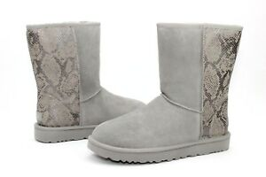 390a9f1f57d Ugg Classic Short Metallic Snake Leather Silver Sheepskin Boot Size ...