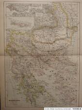 Landkarte Staaten der Balkanhalbinsel, Hartleben´s Verlag um 1890, Lithographie