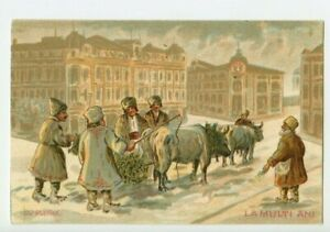 Vintage-Postcard-Russian-Peasants-in-Winter-Cityscape