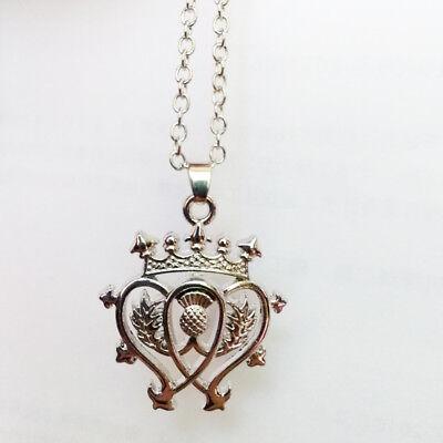 Outlander Necklace Scottish Thistle Flower Leaves Crystal Pendant for Women Gift