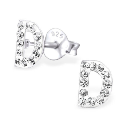 Childrens Girls 925 Sterling Silver Initial D with Clear Crystals Stud Earrings