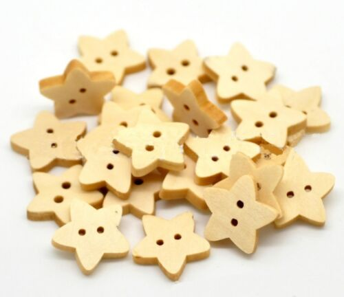 5 10 20 50 100 Natural Wooden Wood Star Buttons 13mm Zakka Sewing Craft