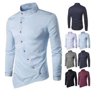 Luxury-Men-Shirt-Slim-Personality-Irregular-Long-Sleeve-Formal-Tops-Casual-Dress