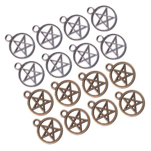 20pcs Tibetan Silver Pentagram Pentacle Wiccan Pagan Charms Pendants Beads 20mm