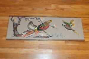 Vintage-Gravel-Pebble-Art-3-Birds-Pheasants-Picture-Wall-Hanging-Mid-Century-USA