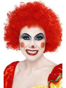 Rojo-Payaso-Peluca-Afro-Adulto-Rizado-Comey-circo-Accesorio-de-disfraz