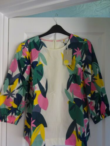 EUR 36-50 BNWT BODEN JOANNA TOP COTTON 3//4 SLEEVES IVORY ABSTRACT PALM UK 10-22