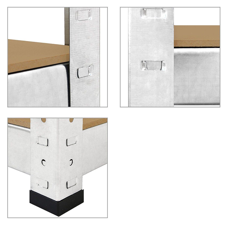 3 x eazilife 1.8 M Alto Argento 5 Tier Heavy Duty Scaffalature in metallo boltess Unità