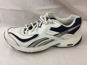 Details about Reebok Womens 9 M Running Shoes Sneakers Athletic EU 40 White Navy Blue Leather