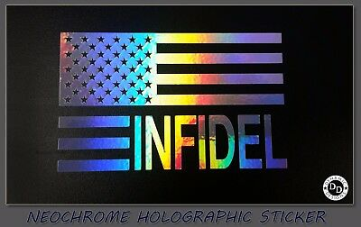 Large American Infidel USA Flag patriotic vinyl window decal sticker pro gun