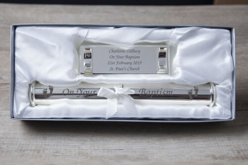 Personalised Engraved Your Baptism Certificate Holder Gift Box Set Silver Plated