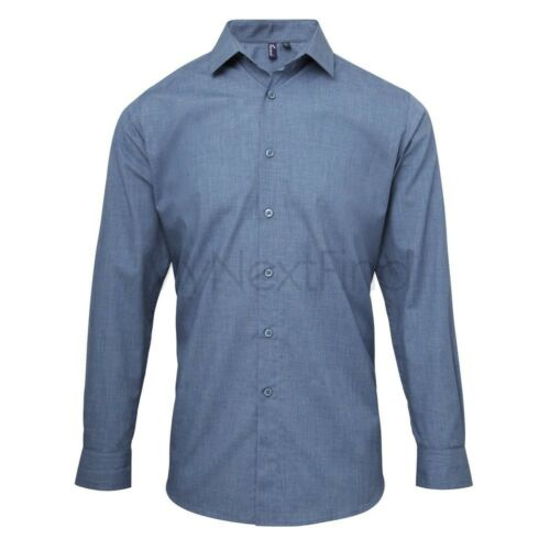 Premier Workwear Popeline Cross-Dye Roll Sleeve Camicia