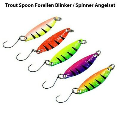 5 Pcs Trout Spoon Metal Fishing Lures Bait Spinner Baits Bass Tackle