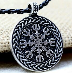Antique silver tone viking helm of awe braided cord pendant necklace image is loading antique silver tone viking helm of awe braided aloadofball Images