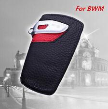 Genuine Leather BMW Key Case Bag Sport Line Fits BMW 2 3 5Series X3 (Black/Red)