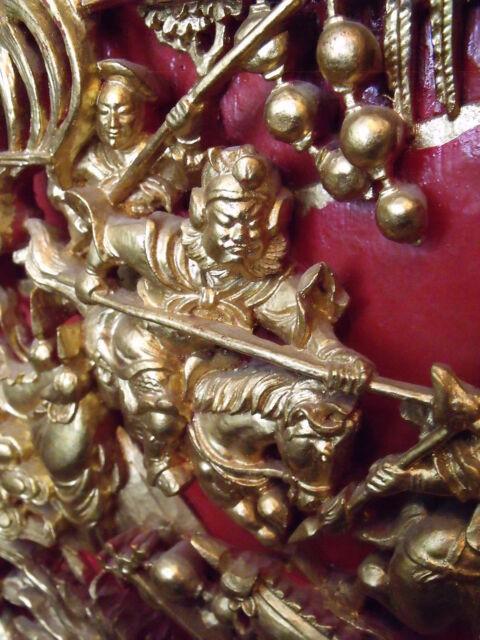 Vintage Chinese Carved 24kt Gilt Wood Figural Sculpture Dragons/Warriors