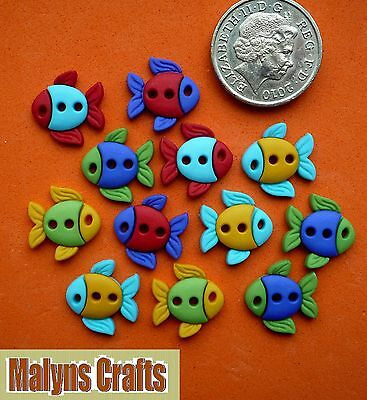 SEW CUTE FISH Craft Buttons 1ST CLASS POST Novelty Sewing Fishing DRESS IT UP