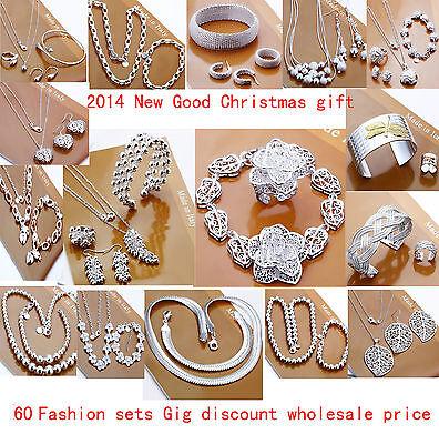 New Xmas Gift Jewelry Set 925Silver Bangle /Necklace/ Bracelet /Earring/ring set