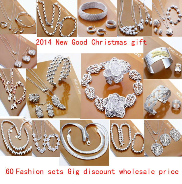 wholesale Jewelry Set925 Silver Bangle /Necklace/ Bracelet /Earring/ring set
