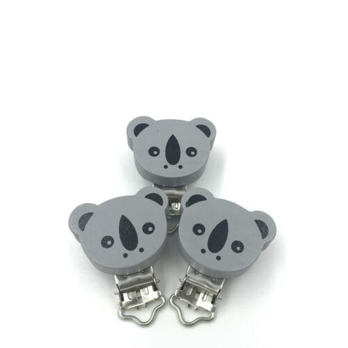 Baby Pacifier Clip Bear Wooden Soother Clasps Holders Teether Accessories DIY
