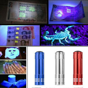 Ultra-Mini-UV-Violet-9-LED-Taschenlampen-Blacklight-Fackel-Handlampe-Aluminium