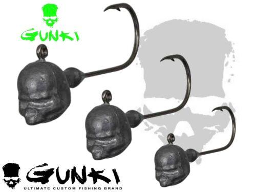 Jig Heads plastique souple appâts Crochets GUNKI g/'skull 3Pcs #1-4//0 Taille leurre de pêche
