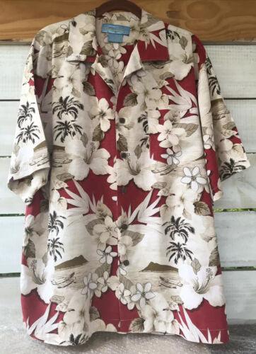 BERMUDA BAY Men's Hawaiian Shirt L Red Beige Btn D