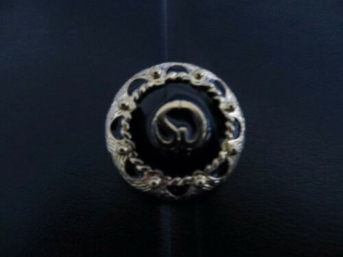 "Black and Gold   3//4/"" St NWOT #1023A John Knit Button"
