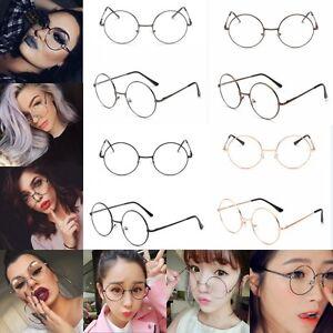 Vintage-Style-Clear-Lens-Round-Glasses-Gold-Metal-Frame-Unisex-Eyeglasses