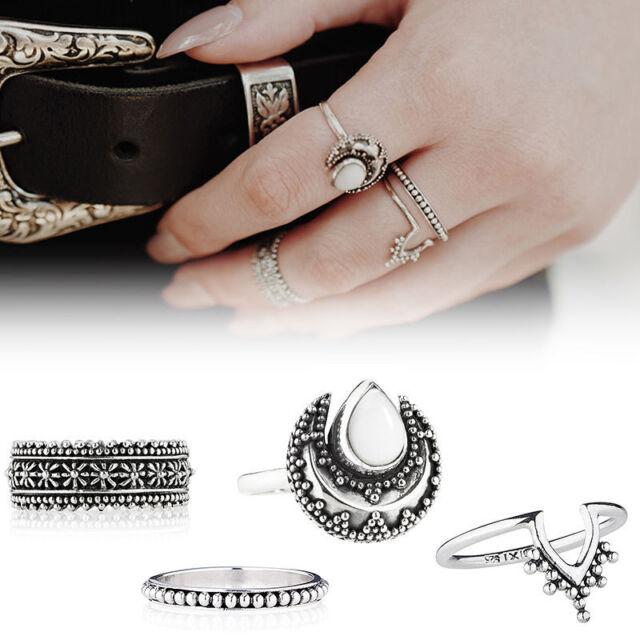 4 PCS Silver Punk Vintage Ring Womens Retro Finger Rings Set Boho Style Jewelry