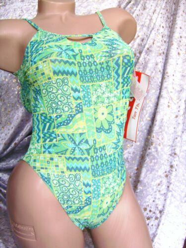 TanThru Badeanzug Durchbräunend Grün Gelb 38 B US 7//8 GB 10 Solar Neu